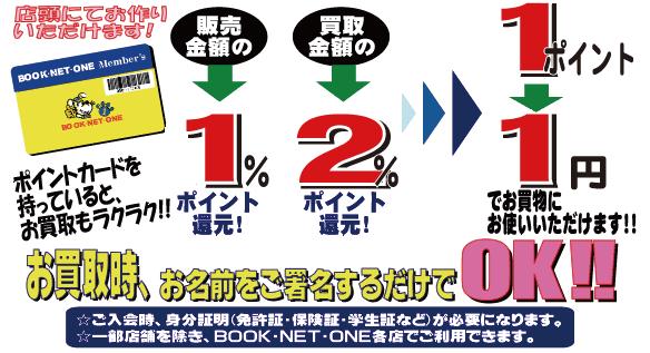 BOOK・NET・ONEメンバーズポイント 販売金額の1%ポイント還元! 買取金額の2%ポイント還元! 1ポイント1円でお買い物にお使いいただけます。